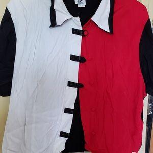 Plus Size Color Block Dress Blouse,
